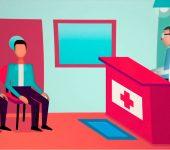Arte de uma sala de espera de hospital, contendo o desenho de duas pessoas sentadas aguardando e um médico atrás de um balcão.