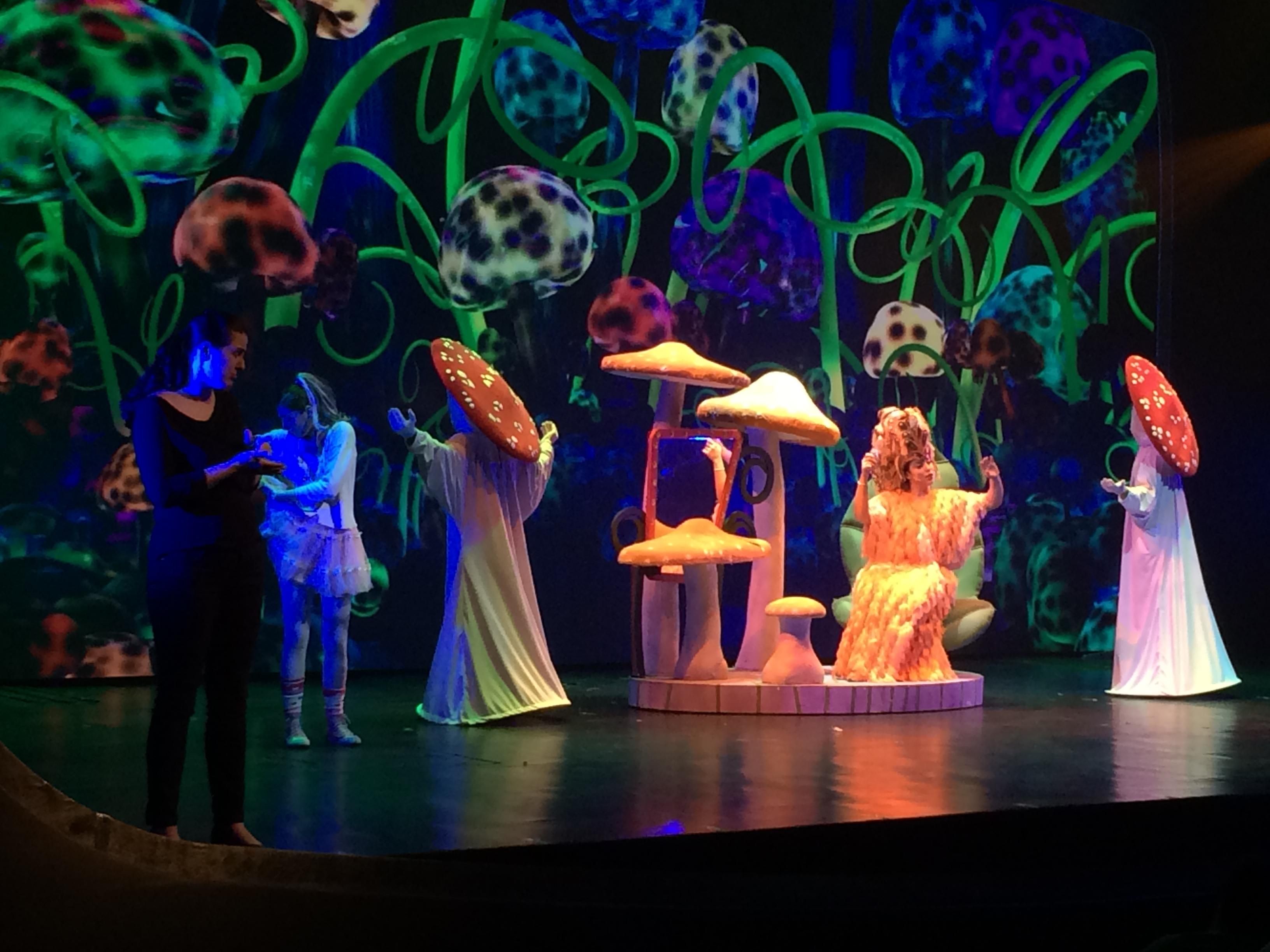 Foto de um palco onde está acontecendo a apresentação da peça Alice