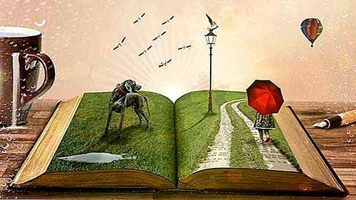 Arte de um livro aberto sobre uma mesa, as páginas deste estão preenchidas por uma textura de grama e há um cachorro e uma menina passeando.