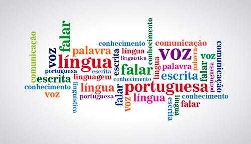 Arte com o fundo branco, ao centro várias palavras estão dispersas em formatos e cores diferentes, como