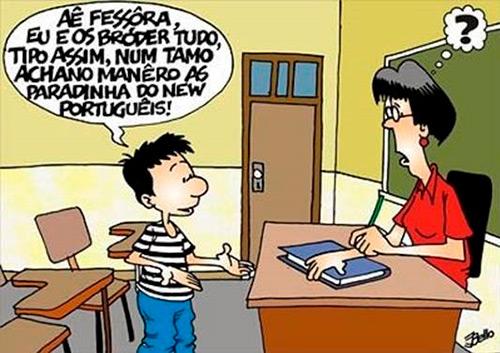 Charge de um aluno e uma professora em sala de aula. O aluno diz a professora: