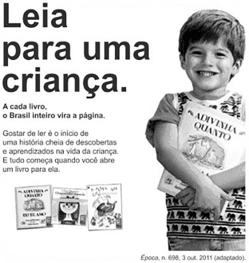 Anúncio contendo, à direita, a foto de um menino abraçado a um livro. À esquerda, há o texto: