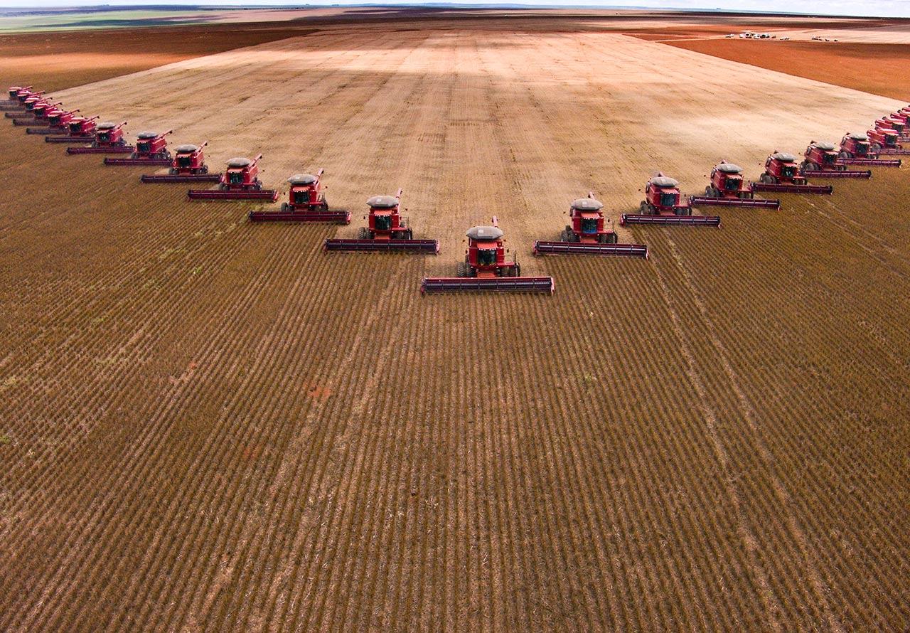 Foto aérea de diversas máquinas de colheita em uma plantação.(crédito: alffoto – iStock)