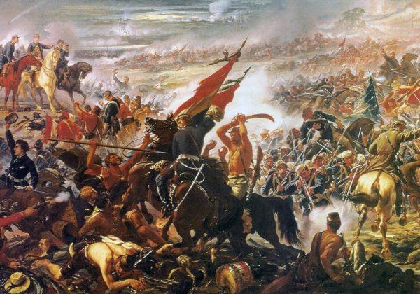 """Reprodução da pintura """"Batalha de Avaí,"""" de Pedro Américo."""