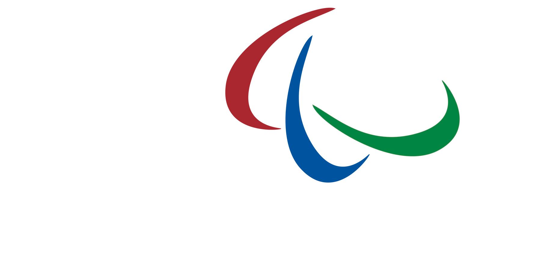 Símbolo dos Jogos Paralímpicos com três agitos (forma geométrica de uma semi elipse) nas cores vermelha, azul e verde apontando lado a lado em posições diferentes