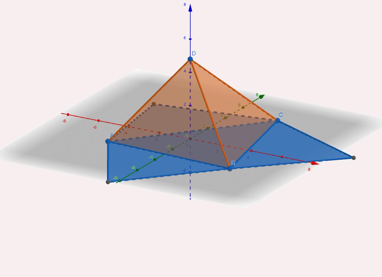 Print da tela do aplicativo Geogebra com um triângulo e várias marcações de medidas (crédito: print Geogebra)