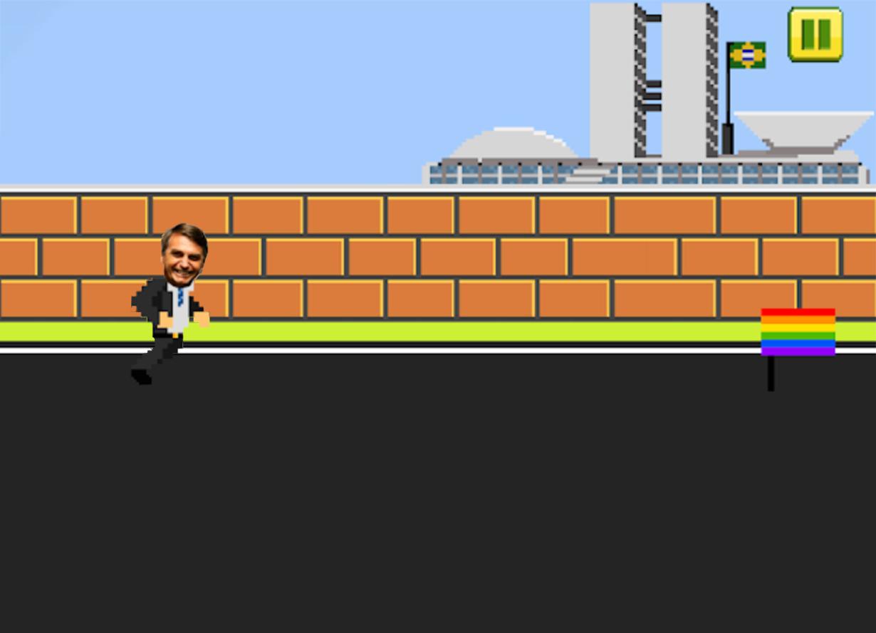 Ilustração de um jogo digital com a imagem de Bolsonaro em frente à Esplanada dos Ministérios. A ilustração é em arte pixelizada. No canto inferior direito, há uma bandeira do orgulho LGBTQ+