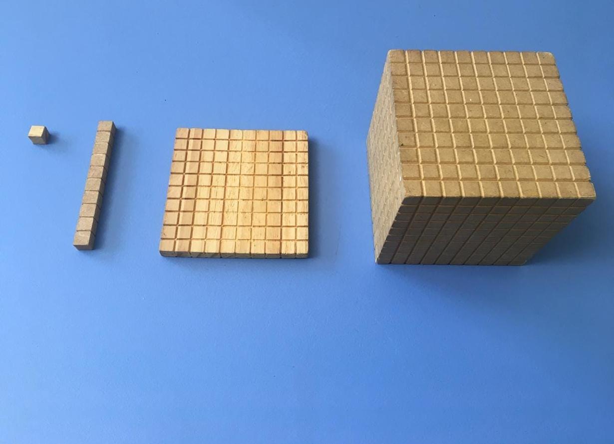 Foto de quatro elementos de material dourado para ensino de matemática