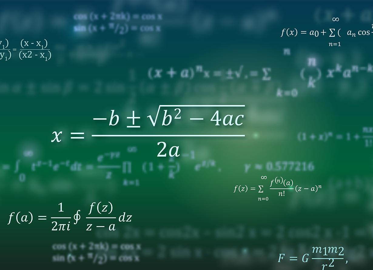 Arte em fundo verde com diversas fórmulas matemáticas.