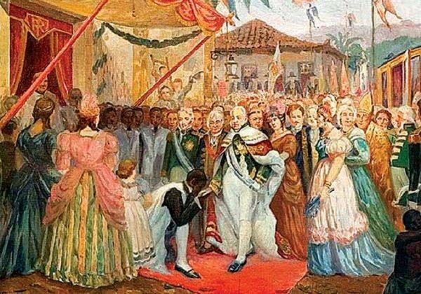 Pintura que ilustra a chegada da Família Real Portuguesa ao Brasil.