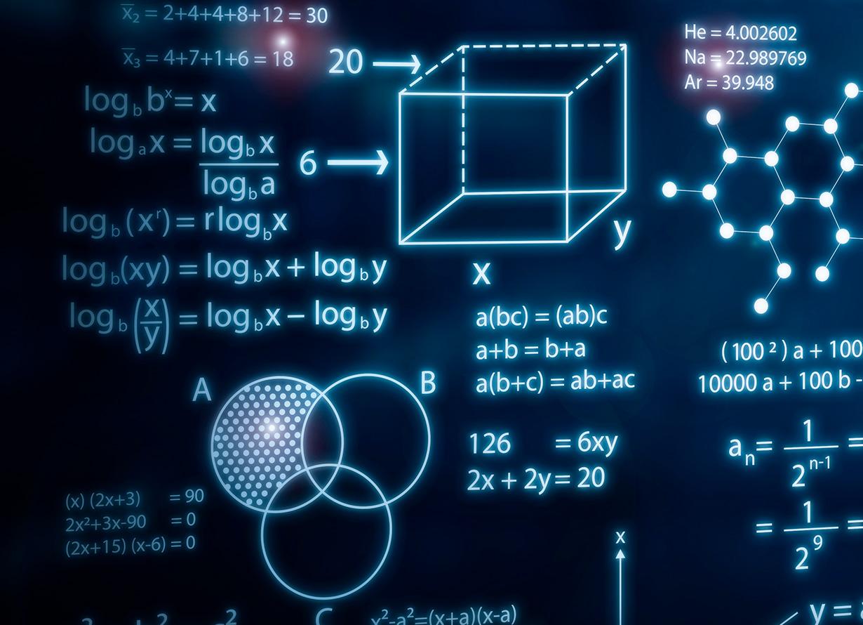 Arte em fundo azul com diversas fórmulas matemáticas e ligações químicas.