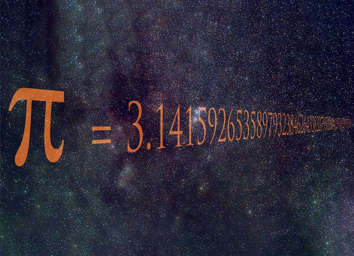 Arte com fundo de estrelas, a imagem do Pi e o número infinito correspondente a ele: 3.14159265... (crédito: Igor Sokalski – iStock)