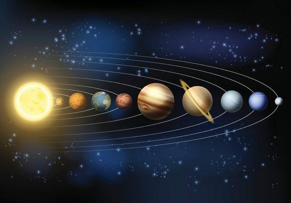 Arte em fundo preto com a representação do sistema solar.