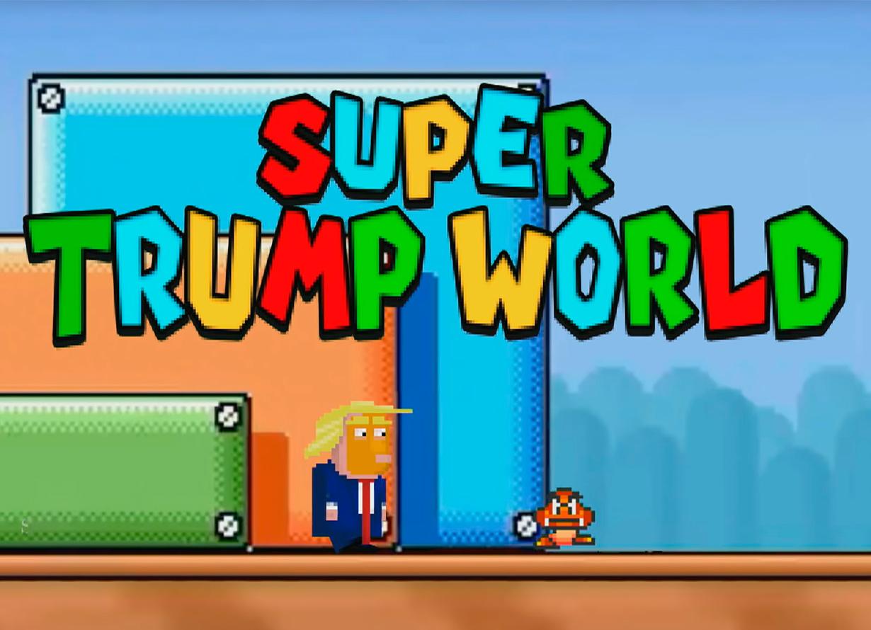 """Arte em formato pixelado, como se estivesse em 8 bits, com um homem loiro e um monstrinho e os dizeres """"Super Trump World"""""""
