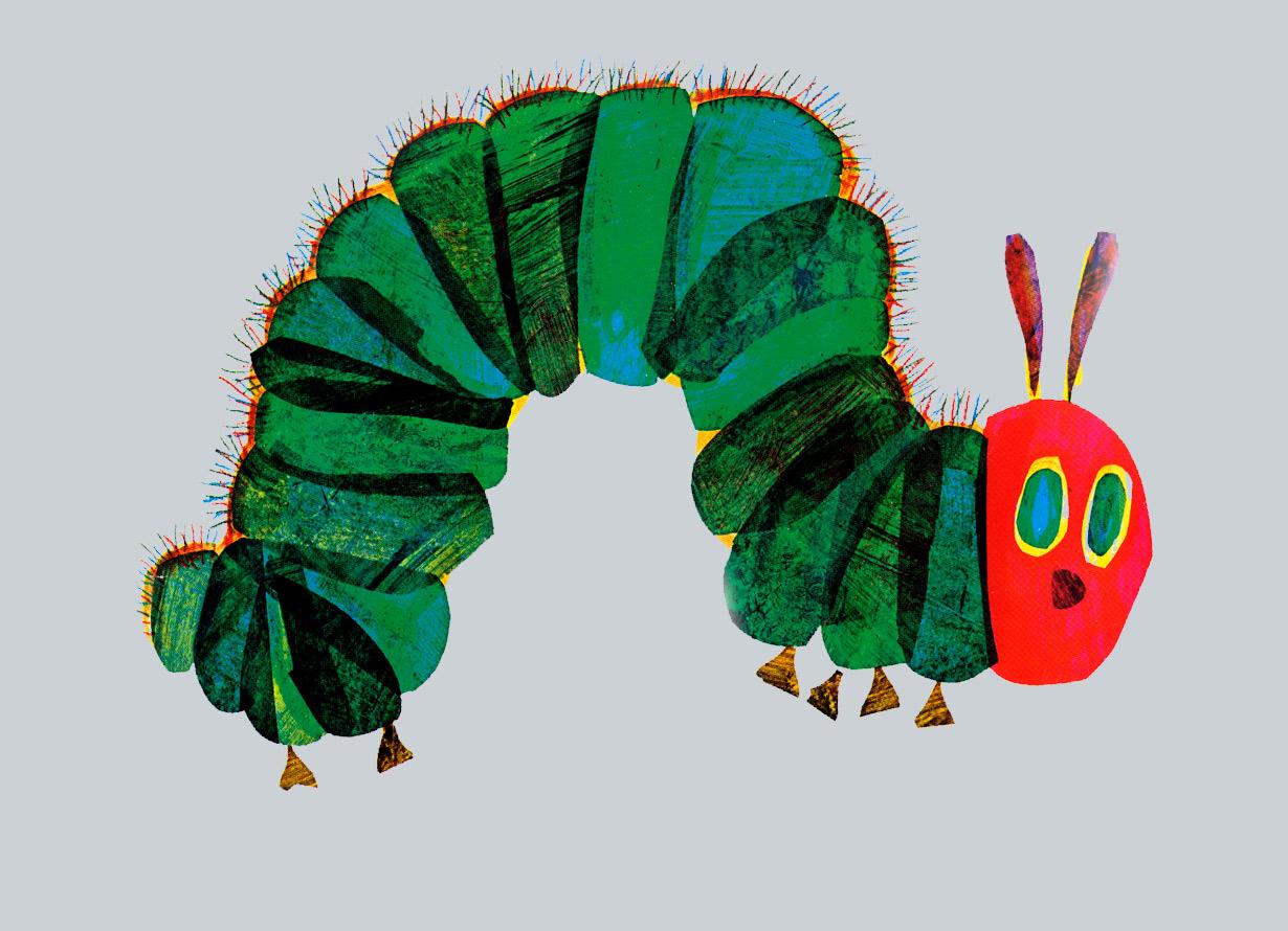 Ilustração lúdica de uma lagarta colorida com o corpo arqueado
