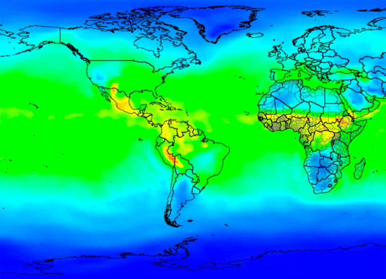 Mapa mundi com diferentes tonalidades de cor que indicam os locais com mais ou menos umidade