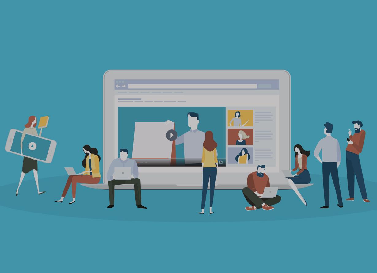 Ilustração lúdica com um notebook gigante aberto e pessoas ao redor dele, algumas sentadas em seu teclado. Elas seguram notebooks e celulares
