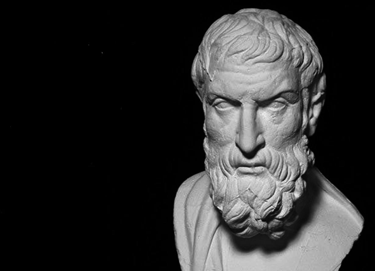 Foto de uma escultura do filósofo grego Epicuro de Samos