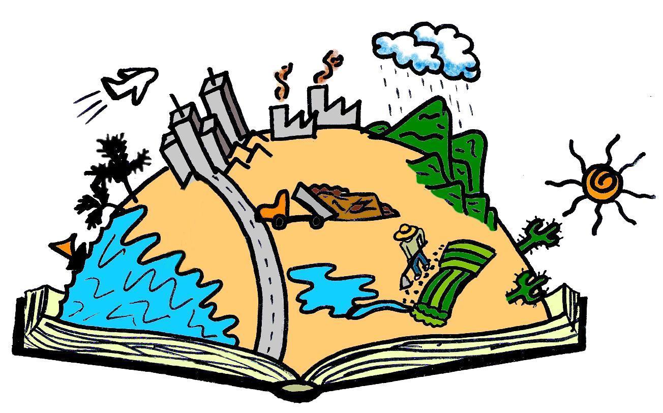 Ilustração de um livro aberto, de dentro dele sai metade de um globo terrestre, contendo em sua superfície representações de vida.