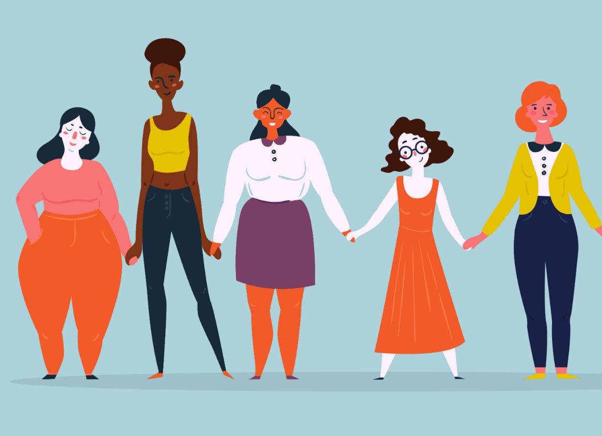 Ilustração com seis mulheres de mãos dadas, de diversas etnias e tipos físicos: com gordas, magras, baixas, negras e brancas