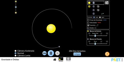 Print da tela do Objeto Virtual de Aprendizagem (OVA) Gravidade e órbitas, desenvolvido pela PhET Interactive Simulations