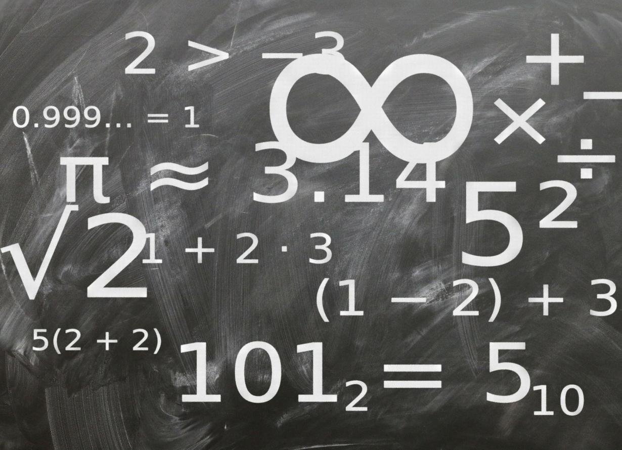 Imagem de uma lousa com diversas fórmulas matemáticas
