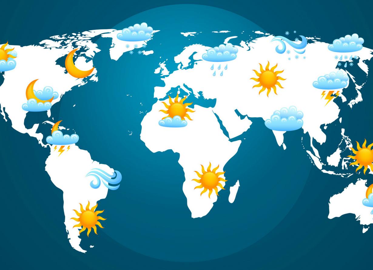 Foto de um mapa mundi com indicações de previsão do tempo