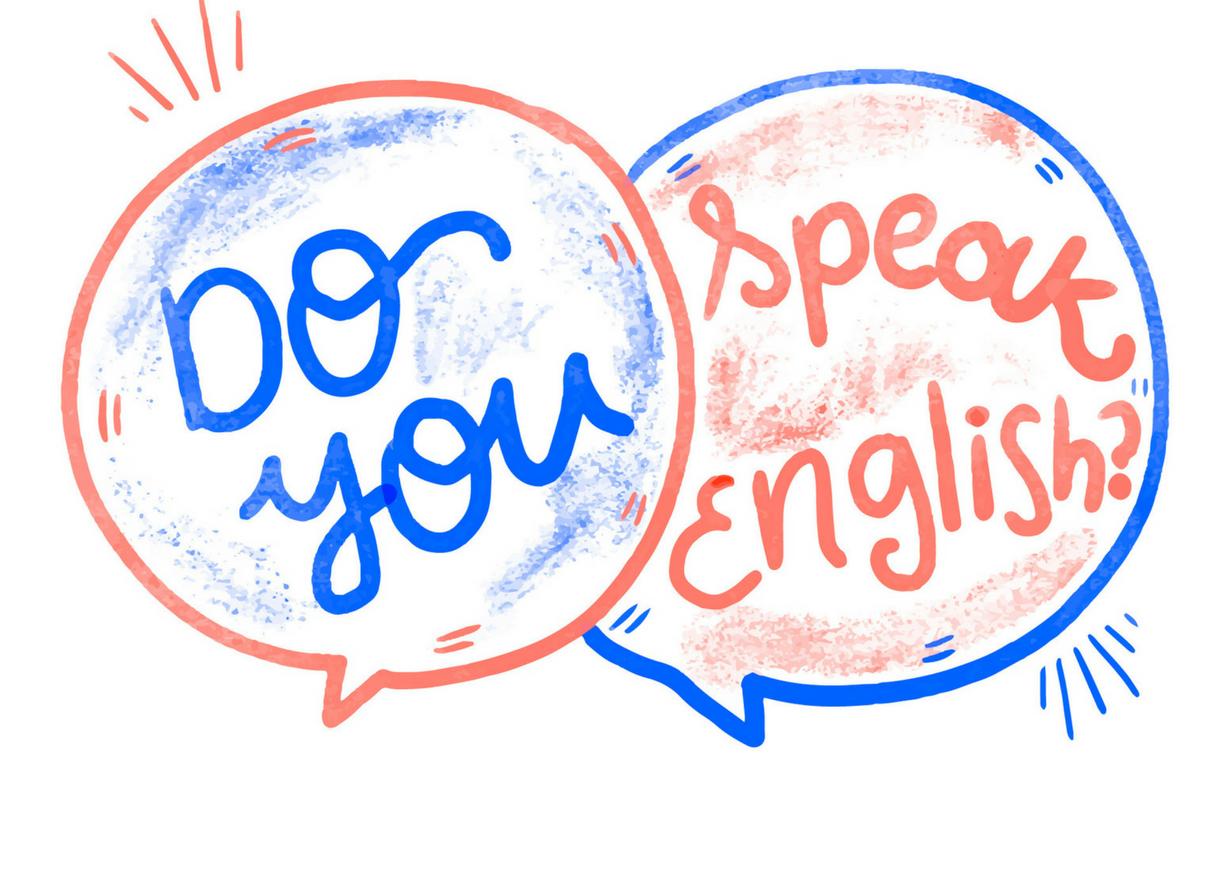 """Imagem a expressão """"Você fala inglês?"""" em inglês escrita em azul e vermelho."""