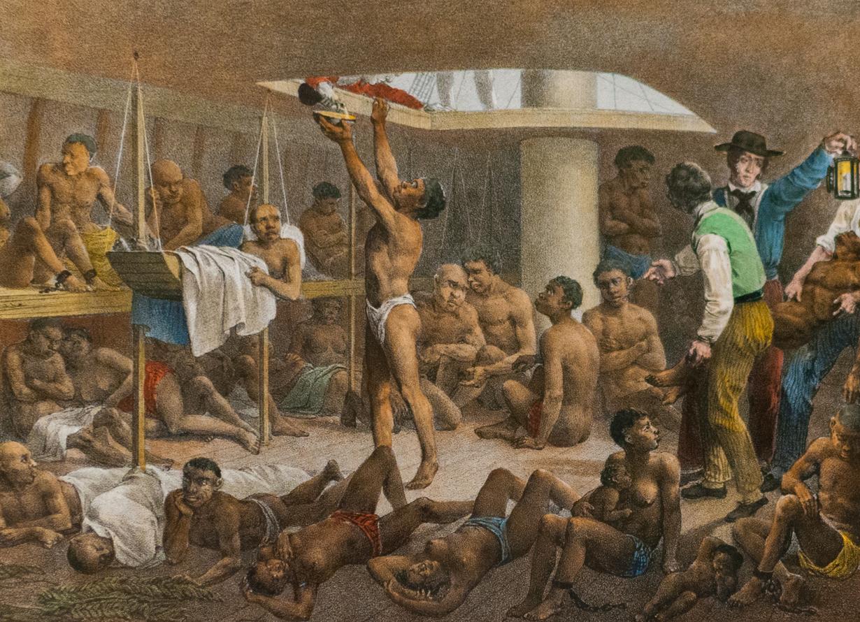 Quadro representando o interior de um navio negreiro com diversos escravos