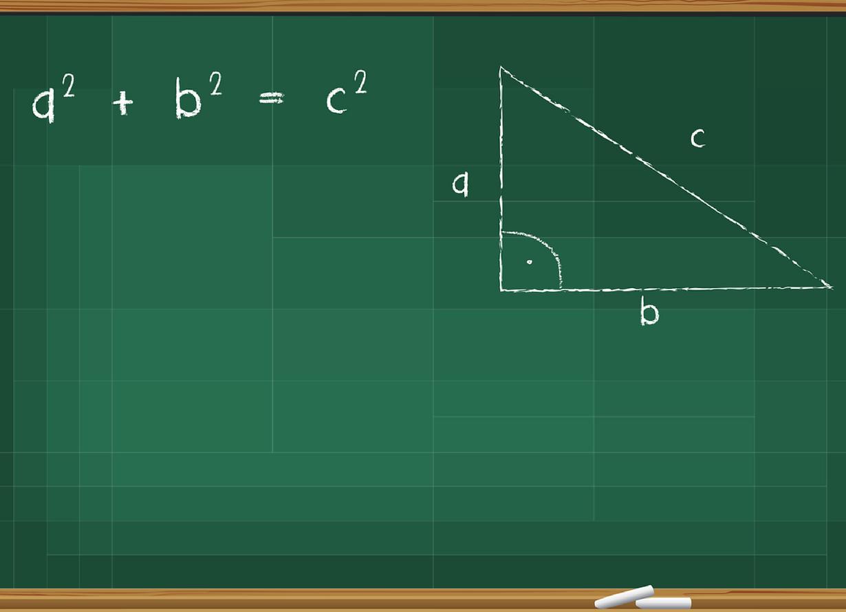 Ilustração de uma lousa com uma representação da equação do Teorema de Pitágoras