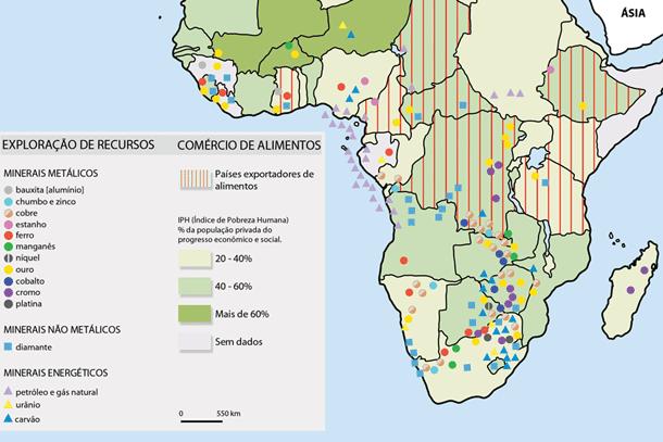Imagem do mapa do continente africano que apontam locais de exploração de recursos