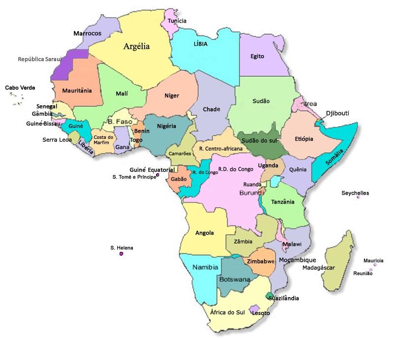 Mapa político do continente Africano