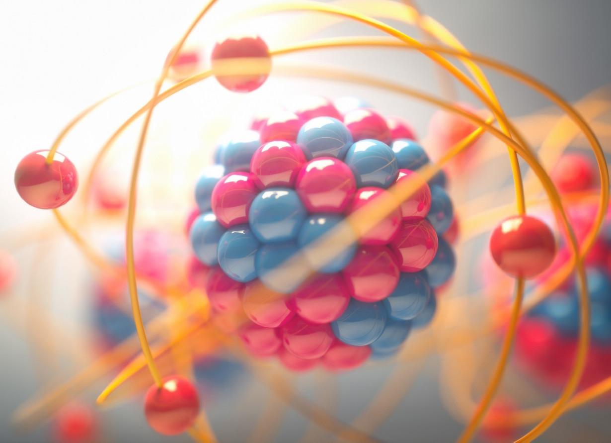 Ilustração digital de um átomo. As moléculas são azuis e vermelhas