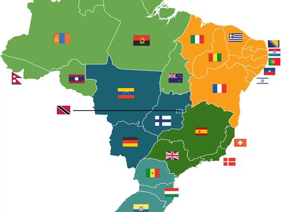 mapa países no brasil