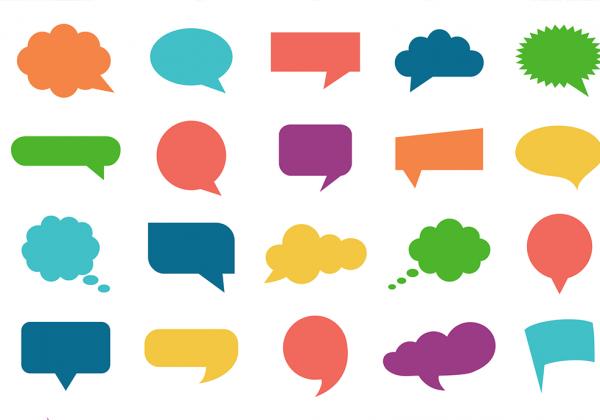 interjeições balões de fala coloridos