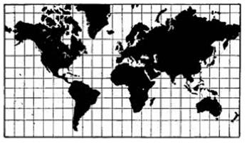 Mapa com a Projeção de Mercator