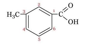 Fórmula estrutural do ácido 3-metil-benzoico.