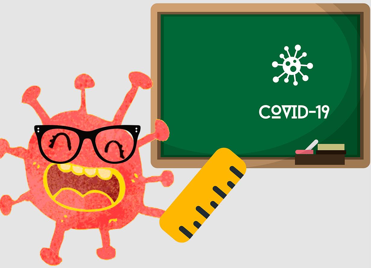 ilustração lúdica em fundo cinza de um vírus sorrindo e apontando com uma régua para uma lousa verde. Ele é vermelho com a boca e os dentes amarelos.