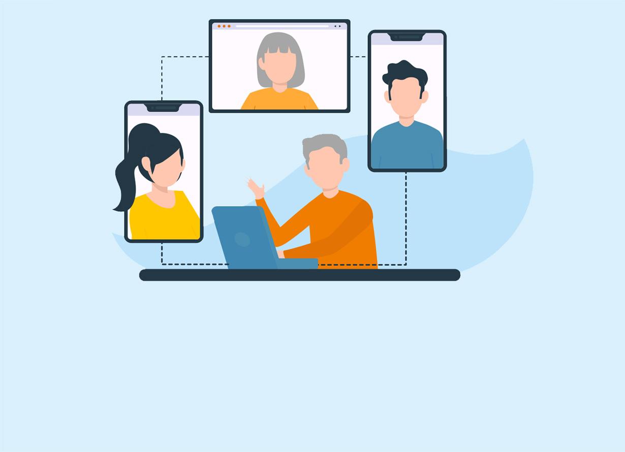 Arte de pessoa na frente de um notebook. Dele saem dois celulares e um monitor com pessoas dentro, simulando uma conversa virtual