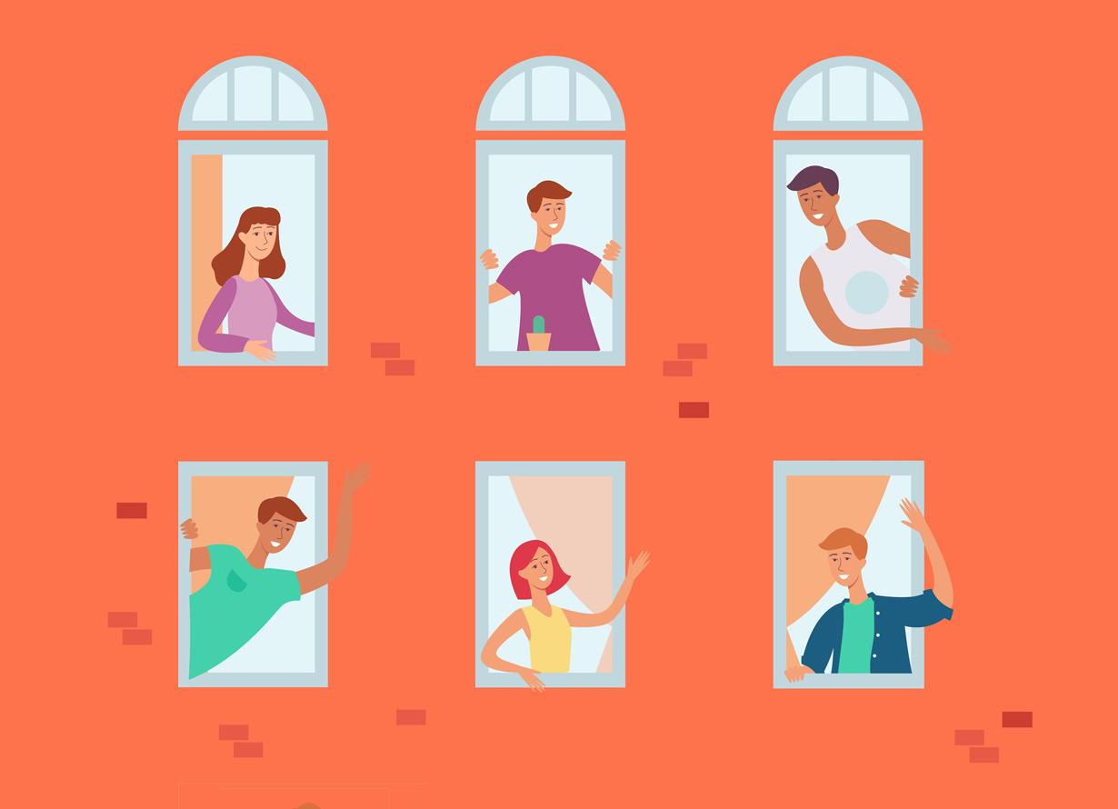 Ilustração de um prédio com 6 janelas. Nelas, há pessoas diversas interagindo umas com as outras