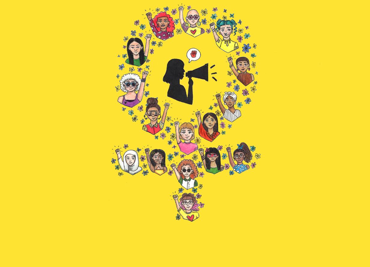 Arte com fundo amarelo e a ilustração de diversas mulheres com os braços pra cima. A disposição delas forma o símbolo do feminino