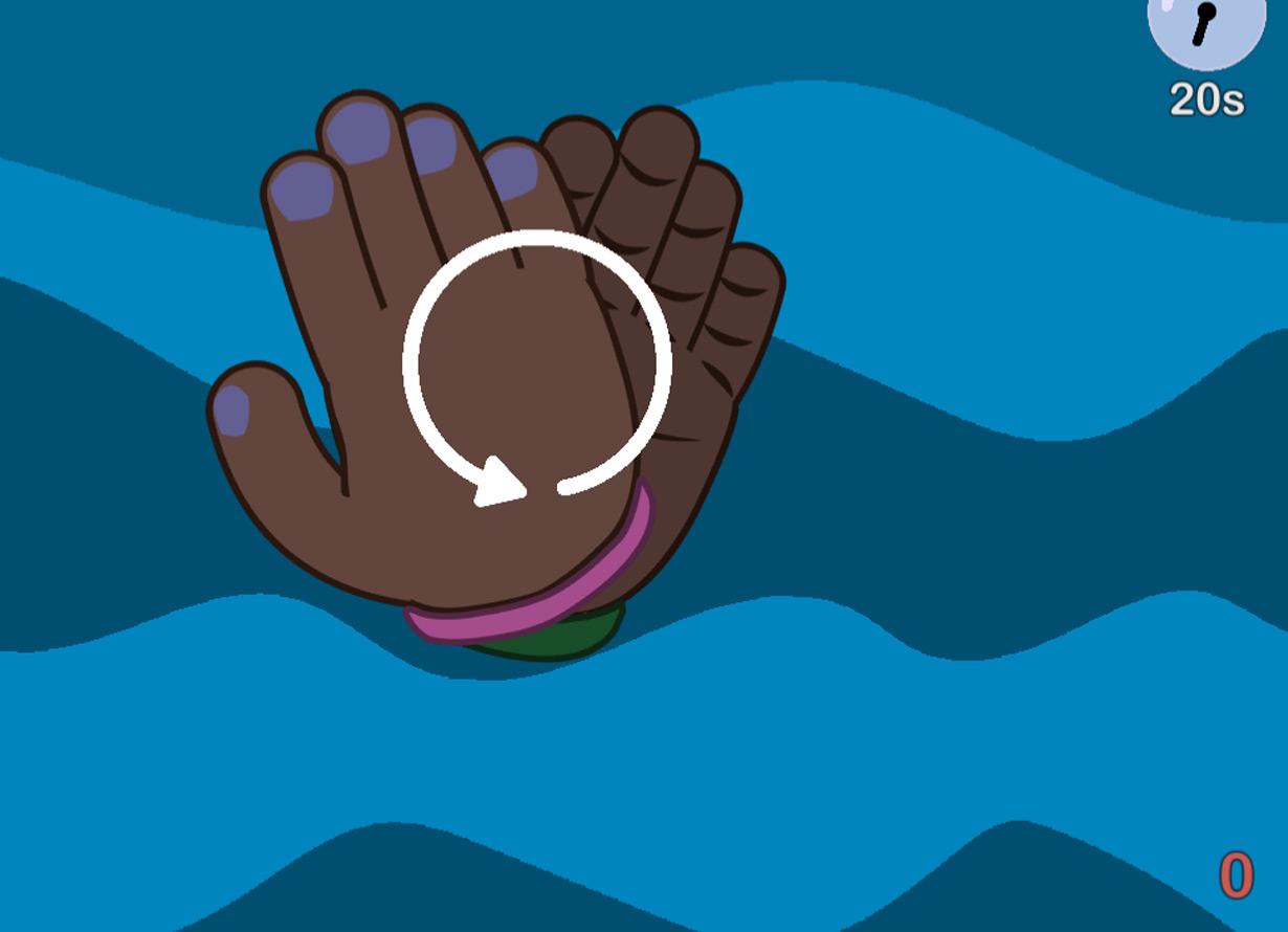 Arte com fundo azul e o desenho de duas mãos sobrepostas. Há uma seta indicando um movimento circular de uma sobre a outra