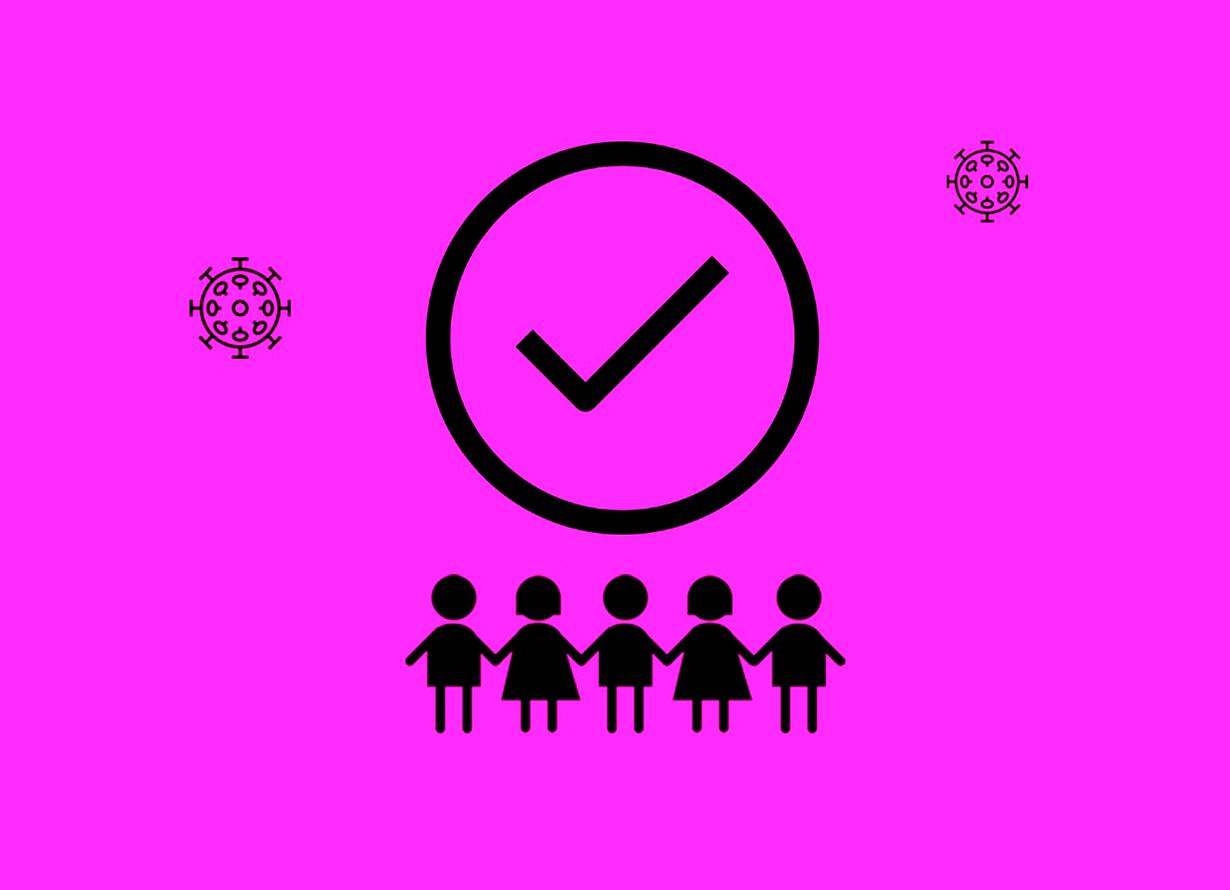 Arte com fundo rosa e o desenho de dois vírus, um grande símbolo de visto e, abaixo, a silhueta de crianças de mãos dadas