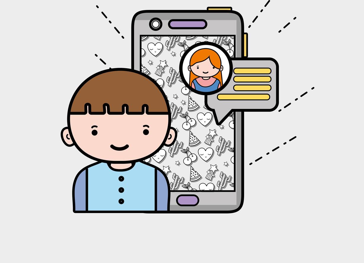 Arte com fundo cinza e o desenho de um garoto na frente de um celular gigante. Na tela, há o desenho de uma garota e um balão de fala
