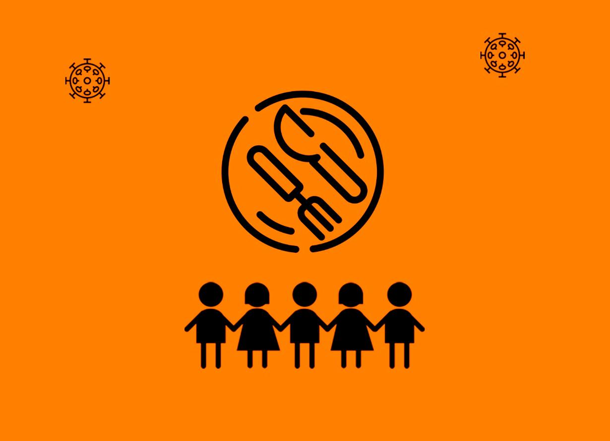 Arte com fundo laranja e o desenho de dois vírus, um prato com garfo e faca sobre ele e, abaixo, a silhueta de crianças de mãos dadas