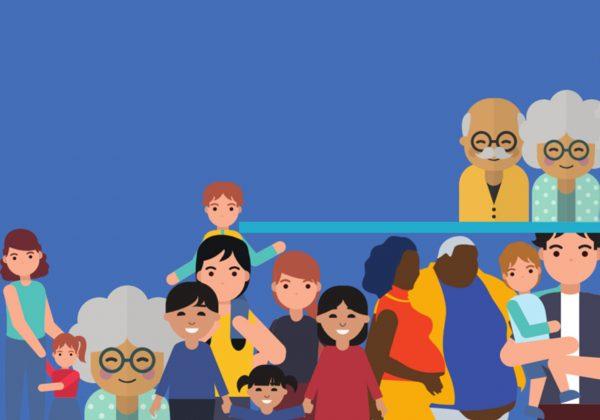Desenho de um grupo de pessoas. Há uma mãe com a filha, idosos, uma grávida e o marido.