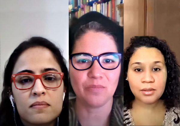 Print de uma tela de vídeo do YouTube, contendo o rosto de três mulheres, lado a lado.