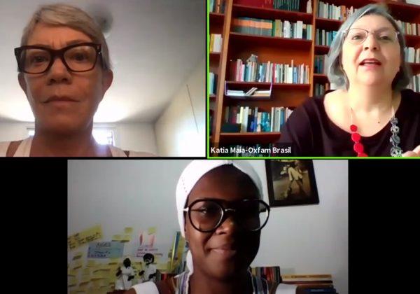 Print da tela de um vídeo, contendo na parte de cima, a imagem de duas mulheres brancas, grisalhas, de óculos; e na parte de baixo, uma mulher negra, também de óculos, e um turbante branco.