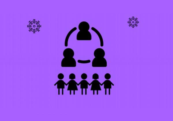 Arte, de fundo roxo, contendo no canto direito o desenho do contorno de cinco pessoas de mãos dadas. Ao redor, há o símbolo do coronavírus.