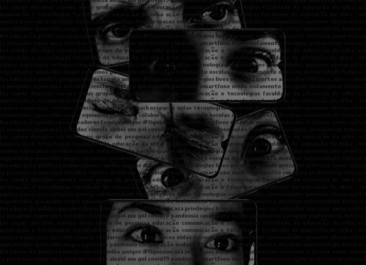 Montagem, em fundo preto, com a aplicação de várias palavras, como marca d'água, por todo o espaço. Ao centro, há a representação de quatro smartphones que em suas telas apresentam recortes dos olhos de pessoas diferentes.